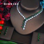 HIBRIDE Brilliant Green Water Drop Cubic Zirconia <b>Jewelry</b> Sets For Women Bride Necklace Set Wedding <b>Accessories</b> Wholesale N-423