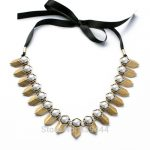 New Design Fashion <b>Jewelry</b> Manufacture 2014 High <b>Antique</b> Gold Ribbon Necklace Crystal <b>Jewelry</b> Gold Color Necklaces