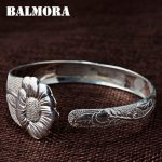 BALMORA 990 Pure Silver Vintage Flower Open Bangles for Women Mother Lover Gift about 18cm Bracelet <b>Jewelry</b> <b>Accessories</b> JWB109