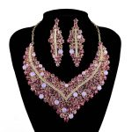 Rhinestone Statement Necklace sets Pink color Combination women Wedding Party <b>Jewelry</b> set Bridal Dress <b>Accessories</b>
