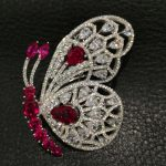 Red white Butterfly Brooch 925 <b>sterling</b> <b>silver</b> with cubic zircon top quality Romantic Fashion women <b>jewelry</b>