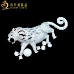 OBN Micro Pave CZ Large Vintage Inlaid Pearls Lion Brooches Fashion Men Brooches <b>jewelry</b> <b>Antique</b>