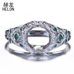 Semi Mounting Retro Ring 8mm Round Cut 925 Sterling Silver Green CZ Engagement Wedding Ring <b>Art</b> <b>Deco</b> <b>Jewelry</b> Women