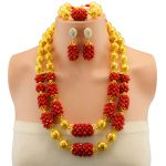 African Beads <b>Jewelry</b> Sets Red Classic Style Gold-color Bridal Wedding <b>Accessories</b> Necklace Bracelet Earrings Set