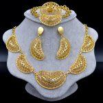Sunny <b>Jewelry</b> Dubai <b>Jewelry</b> Sets Choker For Women <b>Accessories</b> Flower Hollow Out Bridal Wedding Necklace Earrings Ring Bracelet