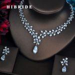 HIBRIDE Elegant Full Cubic Zirconia Women Bride <b>Jewelry</b> Sets Necklace Set Wedding Dress <b>Accessories</b> Gifts Wholesale N-427