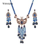 Wbmqda 2 Pcs/lot Blue Natural Stone Necklace And Earrings For Women <b>Antique</b> Gold Crystal Ethnic Vintage Wedding <b>Jewelry</b> Sets