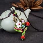 <b>Antique</b> Bronze Branch Flower Pendant Necklace Ethnic Handmade Braided Rope Long Necklace China Traditional Women <b>Jewelry</b>