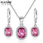 ELESHE 925 Sterling Silver Rose Pink Crystal <b>Jewelry</b> Set for Women Wedding <b>Accessories</b> Bijoux Femme Necklace Earrings Sets