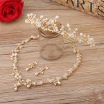 Dower me Gold Branch Wedding Hair <b>Jewelry</b> Bridal Necklace Earrings Set With Tiara Women Prom Jewelrys Sets <b>Accessories</b>