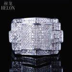 HELON 925 <b>Sterling</b> <b>Silver</b> Men's Band Stylish Party Glamorous Wedding Genuine Natural Diamonds Ring Fine <b>Jewelry</b> Designer Band