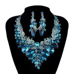 Indian style Jewellery blue and champagne Crystal Necklace Earrings Bridal <b>Jewelry</b> Sets For Brides Party Wedding <b>Accessories</b>
