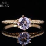 HELON 6mm 0.72ct Pink Morganite <b>Jewelry</b> Solid 14k Yellow Gold Anniversary Vintage Ring Fashion Women's Ring <b>Art</b> <b>Deco</b> Style Ring