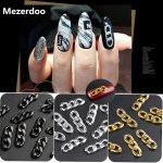 Nail <b>Art</b> Chain <b>Jewelry</b> 3 Sections Zipper Design Nail Decoration Chain Phone <b>Deco</b> Metal Fantasy Black Gold DIY Street <b>Art</b> Tools