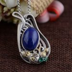Deer King <b>jewelry</b> wholesale S925 Silver <b>Antique</b> Crafts Korean pendant inlaid natural Lapis NEW