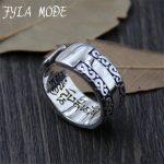 FYLA MODE S925 Sterling Silver <b>Antique</b> Silver Ring Om mani padme hum Mantra Buddhism Ring Fine <b>Jewelry</b> 8.30mm 6.80g XJF038