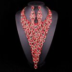 Luxury Red Crystal Party Wedding Costume <b>Jewelry</b> Sets for Brides Statement Necklace Earrings Bridal <b>Accessories</b> Christmas Gifts
