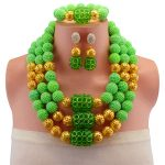 New Fashion Women Wedding Bridal <b>Accessories</b> Party Gold-color <b>Jewelry</b> Green African Beads Costume <b>Jewelry</b> Sets