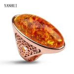 YANHUI Women Unique Rings Natural Magical Opal Stone Gold Color Rings <b>Antique</b> Wedding <b>Jewelry</b> New Fashion Rings for Women R3243