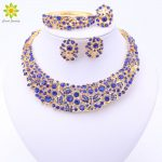 4Color Nigerian Wedding African Beads <b>Jewelry</b> Set Crystal Gold Color Necklace <b>Jewelry</b> Set Wedding <b>Accessories</b> Party For Women