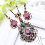 Vintage Turkish Flower Resin <b>Jewelry</b> Drop Long Necklace Women <b>Antique</b> Gold Color Full Crystal Bohemian Pendant Women Wedding
