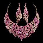 Top quality pink leaf flower <b>jewelry</b> sets bridal wedding Necklace earrings Women party Dress <b>Jewelry</b> <b>Accessories</b> Bride <b>Jewelry</b>