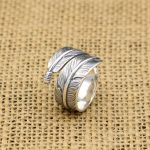 Handmade Silver 925 Feather Rings Men Vintage Indian Style 100% Pure Solid <b>Antique</b> Silver 925 Cool Persoanlity Mens <b>Jewelry</b> Gift
