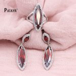 PATAYA Rainbow <b>Jewelry</b> Set True White Gold Water Drop Natural Cubic Zircon Earrings Ring Sets Women Weddings <b>Accessories</b> <b>Jewelry</b>