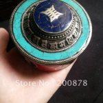 TJB987 Tibetan silver small colorful <b>jewelry</b> box,79*45mm,metal inlaid turquoise coral,Tibetan <b>antiqued</b> handicrafts