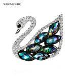<b>Antique</b> Silver Natural Abalone Shell Bird Swan Brooch Hijab Pin Corsage Broach for Women Wedding Dress Badge <b>Jewelry</b> Accessories
