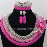 <b>Silver</b> Pink Nigerian Wedding African Beads Jewelry Set Big Rhinestone Pendant Necklace Set African Jewellery Free Shipping WA068