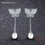 ANFASNI 100% 925 Sterling Silver Butterfly Long Stud Earrings With Clear CZ and Pearl Women <b>Wedding</b> Luxury <b>Jewelry</b> SER0132-B