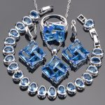 Bridal Jewelry Sets Blue Zirconia Earrings For Women <b>Silver</b> 925 Jewelry Wedding <b>Bracelet</b> Pendant Rings Necklace Set Gift Box