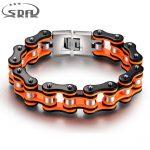 Hot Sale Orange black Motorcycle Chain Bracelets, Top quality 316L Stainless Steel Men's bracelets 16mm width SDA <b>Jewelry</b> YM079