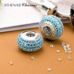 ATHENAIE 4 Colors Genuine 925 Sterling <b>Silver</b> Charms Bead Pave CZ Beads Color Blue Fit Charm <b>Bracelet</b> Authentic Jewelry Gift