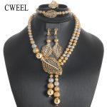 CWEEL <b>Jewelry</b> Sets Vintage African Beads <b>Jewelry</b> Set For Women Round Luxury Bridal Turkish Wedding Dubai Gold Color <b>Jewelry</b> Set