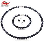 Vintage Black Pearl Necklace Jewelry Sets for Women Anniversary Gifts 6-7MM Freshwater Pearls Pure 925 <b>Silver</b> <b>Earring</b> Set FEIGE