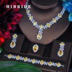 HIBRIDE Charm Yellow Cubic Zirconia <b>Jewelry</b> Sets For Women Bridal Wedding Sets 4 pcs Earring <b>Necklace</b> Ring Bracelet Gift N-391