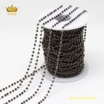 5Meters 2x3mm Gun Black Glass Faceted Rondelle Beads Chains Findings,Plated Brass Wire Wrapped Tiny Glass Chains <b>Supplies</b> ZJ152