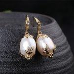 Lanseis Charm Flower Big Baroque Pearl Earrings, 1Pcs Unique Party, <b>Wedding</b>, Lace Pattern, Design Handmade <b>Jewelry</b> For Women