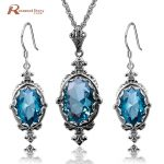 African Bijouterie Set Blue Rhinestone Real 925 Sterling <b>Silver</b> Dubai Indian Bridal <b>Earrings</b> Pendant Jewelry Sets Female Gift