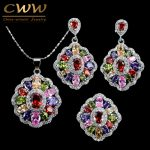 CWWZircons Cubic Zirconia Indian <b>Silver</b> 925 <b>Jewelry</b> Sets For Women MultiColored Big CZ Ring Necklace And Earring Ladies T261