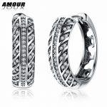 AMOURJOUX Trendy Real 925 Sterling Silver Hoop Earrings for Women Small Circle Zircon Earring Female Wedding Engagement <b>Jewelry</b>