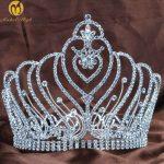 Royal Round Tiaras Diadem 6″ Clear Crystal Rhinestones Brides Headpiece Hair <b>Jewelry</b> Wedding Bridal Beauty Pageant Prom