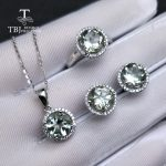 TBJ,natural green amethyst quartz gemstone jewelry set in 925 <b>silver</b> Romantic ring pendant <b>earring</b> gemstone jewelry forwomen