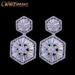 CWWZircons Top Quality 925 Sterling Silver Pin Luxury Cubic Zirconia Earring For Women Wedding Bridal Gift <b>Jewelry</b> CZ127