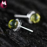 Blue Natural Amber Round Crystal Stud <b>Earrings</b> For Women Gifts Real 925 Sterling <b>Silver</b> Original Handmade Fine Jewelry SE135