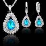 GIEMI Top Quality 925 Sterling <b>Silver</b> Jewelry Sets For Women Water Drop Russian Style Wedding Pendant <b>Necklace</b> Hoop Earrings Set