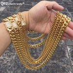 Hip hop 10/14mm Men Cuban Miami Chain <b>Necklace</b> Stainless steel Rhinestone Clasp Iced Out Gold <b>Silver</b> casting Chain <b>Necklaces</b>