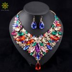 2017 African <b>Jewelry</b> Sets Wedding Necklace Womens Jewellery Set Gold Color Necklace And Earrings 6Colors